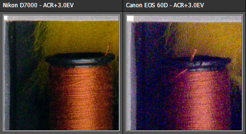 Zosvetlenie tieňov: D7000 vs 60D (z dpreview)
