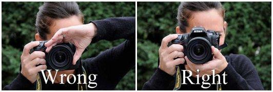 Držanie fotoaparátu: nesprávne a správne