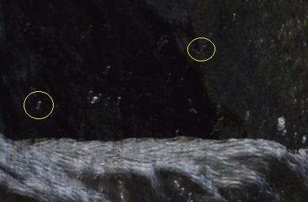 Výrez zo záberu z D3300: na padajúcich kvapkách vidno smer roztrasenia