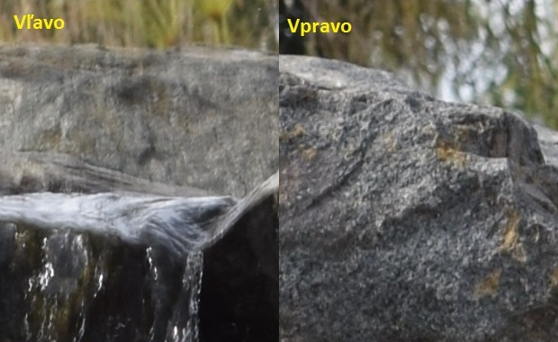záber z D3300: vľavo je kameň roztrasený, vpravo nie