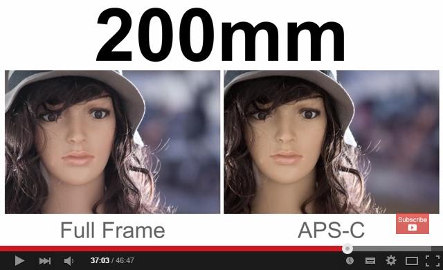 Porovnanie záberu z FF a APSC na 200mm F/2.8