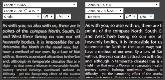 canon 5DS: porovnanie ostrosti optického hľadáčika a LiveView