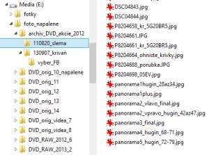 Dáta na disku: nespracované adresáre