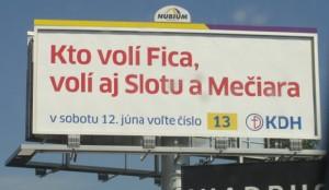 Billboard KDH - kto volí Fica (9.7.2010)