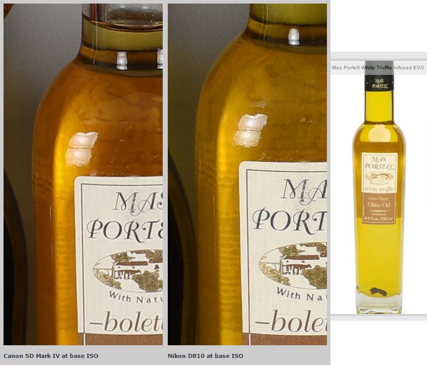 5D mark IV vs D810: porovnanie farieb olivového oleja (imaging-resources a produktové foto)